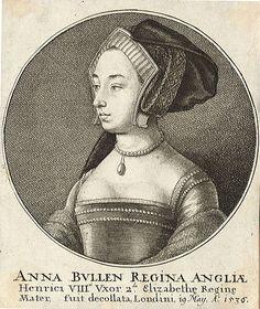 Etching of Anne Boleyn, dated 1649, by Wenceslaus Hollar