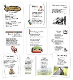 Poem printables to be used with The Well Trained Mind - First Language Lessons