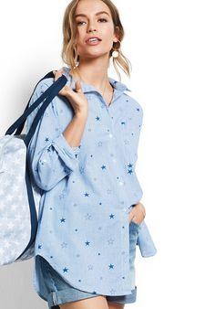 31a74707 Image Oversized Striped Shirt, Jersey Tops, Star Print, Shirt Style, Shirt  Blouses