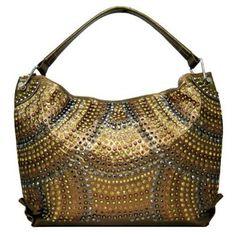 Blue Elegance Crystal And Studded Hobo Handbag 114 95