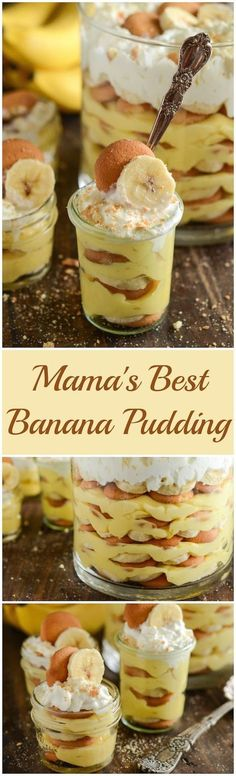 Sharing my Mama's Best Banana Pudding recipe that has layers of creamy pudding, fresh bananas, vanilla wafers and whipped cream in this easy classic recipe! 13 Desserts, Delicious Desserts, Dessert Recipes, Yummy Food, Trifle Desserts, Chef Recipes, Plated Desserts, Dinner Recipes, Dinner Ideas