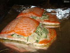 Spinach and Feta Stuffed Salmon