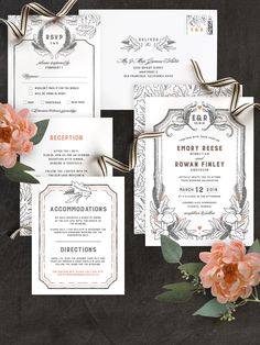 A whimsical hand-drawn wedding invitation for the Cinderella bride featuring organic elements, like ferns, leaves, and botanical detailing. Created by Minted artist Erin Mcmanness and customizable by you on Minted.com