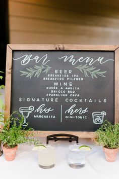 wedding signs Chalkboard bar menu with si - Chalkboard Bar, Chalkboard Wedding Signs, Wedding Chalk Board Signs, Chalk Board Menu, Wedding Signage, Wedding Bar Menu, Wedding Drink Signs, Bar Wedding Ideas, Summer Wedding Menu
