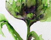 Artichoke Watercolor, Modern Botanical Art Print, Original Kitchen Art