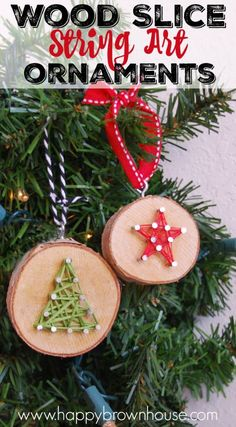 These rustic DIY Wood Slice String Art Ornaments are simple to make and look beautiful on the Christmas tree. Give as a gift or add to the top of a present for a creative gift topper idea. Inspired by a Christmas children's book, these kid's Christmas ornaments are perfect for fine motor skills practice. Adorable craft idea!