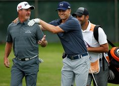 Jordan Spieth reacts to his shot on the fifth tee with with Jerry Kelly and caddie Michael Grelle during the final round of the Crowne Plaza Invitational. Spieth shot a 5-under 65 and tied for second at 11-under for the tournament.