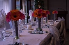 B&W table setting with gerbera flowers