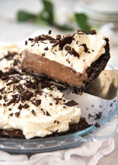 A magnificent Chocolate Cream Pie with a biscuit base, soft custard-like filling and topped with cream. Surprisingly easy to make - watch the video!