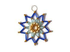blue seed bead star beaded Christmas tree by Kreativprodukte