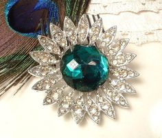 TRUE Vintage Emerald Green & Clear Pave Rhinestone Bridal Hair Comb, Silver Plated Round Art Deco Heirloom Brooch to Hair Comb GATSBY 1920s