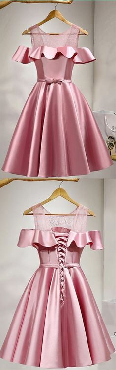 Bowknot Homecoming Dresses, Pink A-line/Princess Party Dresses, Short Pink Prom Dresses, 2017 Homecoming Dress Lace-up Scoop Short Prom Dress Party Dress Dresses Short, Trendy Dresses, Cute Dresses, Beautiful Dresses, Cute Cocktail Dresses, Pink Cocktail Dress, Unique Dresses, Simple Dresses, Pink Wedding Dresses