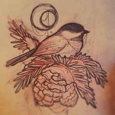 Love it! This is my next tattoo! I want it on my shoulder. Chickadee is associated with the thinking process, higher mind and higher perceptions. It is also associated with mystery and the feminine. Social, bold, and fearless, this birds is a symbol of truth.