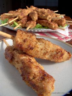 Tender cubes of pork loin threaded on a skewer, breaded, and pan fried or baked. City Chicken makes a great snack, appetizer, or main meal. Low Carb Chicken Recipes, Pork Recipes, Paleo Recipes, Low Carb Recipes, Cooking Recipes, Skinny Recipes, Turkey Recipes, Free Recipes, Recipies