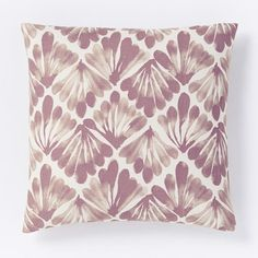 NEW! The watercolor-like motif of the Fanned Diamond Silk Pillow Cover is printed on silk noil, and is based on a painting by one of our designers.