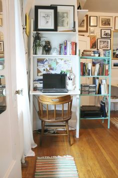 Katie's Eccentric Charm- Love this desk setup for a little corner. May need to try something like this my room.