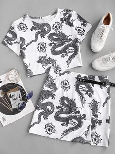 Oriental Dragon Print Two Piece Dress  BLACK WHITE #Ad , #Ad, #Print, #Dragon, #Oriental, #Piece, #WHITE Teen Fashion Outfits, Look Fashion, Daily Fashion, Girl Outfits, Cute Casual Outfits, Casual Dresses, Summer Outfits, Two Piece Dress, Two Piece Outfit