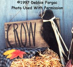 000309 (6) Crow Signs-wood kits, wood parts, wood crafts, tole painting, Debbie Forgac, crafts, wood, primitive, crow, sign