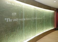 IU Hospital North. Cast and Etched lettering by grtglassdesign.com
