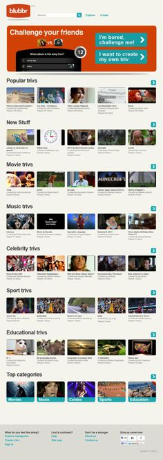 blubbr. Play and create video trivia with your students. You can play trivs in different categories, from news, politics, science and technology and others. blubbr allows you to create trivs about the things you are passionate about. It is also a social media platform to challenge opponents on Facebook, Twitter, Google+ and other social networks.