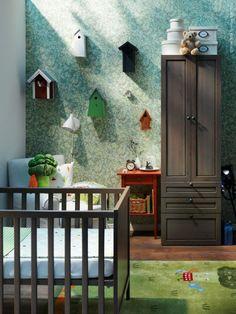 Beautiful IKEA nursery including Stuva, Hemnes and Sundvik. Love the wall details.