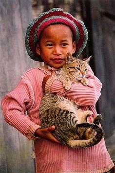 Asia - Myanmar / Burma - Girl With Cat