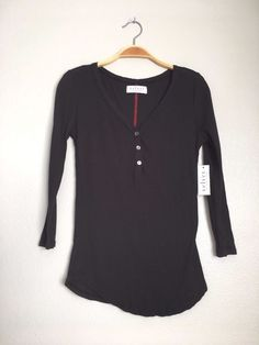 VELVET By Graham & Spencer Darlene 3/4 Sleeve Ribbed V Neck Tee Top Black S $99 #VelvetbyGrahamSpencer #Tee #Casual