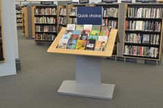Table unit for face forward book display at Gateshead library