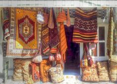 A traditional carpet shop in the working town of Selcuk, Turkey