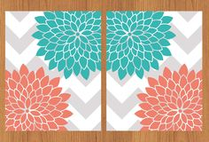 Floral Flower Burst Coral Teal Grey by PaisleyPeacockPrints