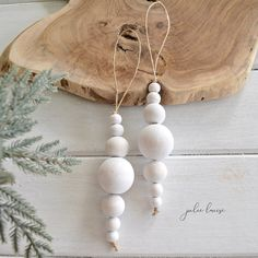 Wood Bead Christmas Bauble White or Natural Decoration Home Decor Farmhouse Tree Decorations Boho Rustic Beads EcoFriendly Julie Louise - Christmas Kids✨ - fun craft Bohemian Christmas, Natural Christmas, Noel Christmas, Christmas Baubles, Simple Christmas, Etsy Christmas, Xmas, Clay Christmas Decorations, Thanksgiving Decorations