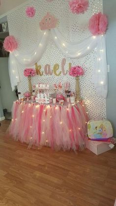 Cute table skirt and candy buffet idea for a princess party. Easy to do and cost effective. Other princess party ideas can be found on our MDH Toys Princess Birthday Party board that includes castle p Princess Party Activities, Princess Party Decorations, Baby Shower Decorations, Baby Decor, Girly Baby Shower Themes, Disney Princess Birthday Party, Birthday Party Themes, Happy Birthday, Birthday Ideas