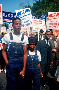 Civil rights activists march towards Washington.