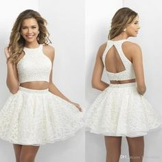 Unique Halter Open Back Top Pearl Two Pieces Lace Homecoming Dress, Homecoming Prom Gown, 2016 Homecoming Dresses, Hoco Dresses, Pretty Dresses, Dresses 2016, Casual Dresses, Backless Dresses, Elegant Dresses, Summer Dresses, Classy Evening Gowns