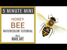 5 Minute Mini Watercolor Tutorial - How to Paint a Honey Bee Bee Painting, Watercolor Paintings Abstract, Watercolor Animals, Painting & Drawing, Watercolors, Watercolor Artists, Gouache, Bee Drawing, Watercolour Tutorials