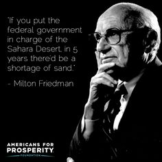 """""""If you put the federal government in charge of the Sahara Desert, in 5 years there'd be a shortage of sand."""" - Milton Friedman"""