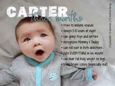 Monthly Milestones: 3-Month-Old Custom Baby Stats Print AND Digital File