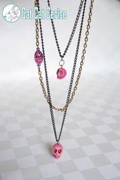 Collar Dangerously Cute. #Collares #Craneos #Calaveras #Rosa