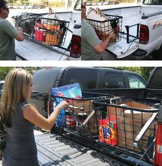 Truck bed accessory for the Dodge Ram Pickup - large custom bins constructed of powder coated steel - smooth lever slides cargo holders from truck bed to tailgate. A great storage idea for groceries, gear and other necessities while on the road.