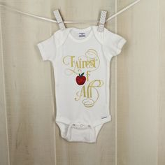 Fairest of All Snow White Ready to Ship Long & Short Sleeve Options Onesie Baby Shower Disney Baby Girl Princess Bodysuit by OyoPOP on Etsy https://www.etsy.com/listing/480356940/fairest-of-all-snow-white-ready-to-ship