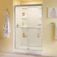 Delta Simplicity 47-3/8 in. x 70 in. Sliding Bypass Shower Door in Polished Chrome with Frameless Clear Glass-158800 at The Home Depot