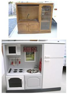 Make children kitchen out of old funiture (danish site)