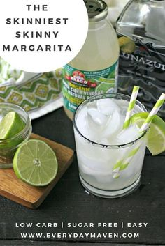 The Skinniest of all Skinny Margaritas. Totally free of sugar, low carb and mixed together in just a couple minutes! Last night I mixed this store-bought limeade (that is organic, all natural and 0 calories, 0 carbs and 0 sugars - what!?) with some good Tequila, a ton of ice and a squeeze of fresh lime. When I took the first sip, I was like, 'Whoa! This tastes more like a margarita than any of the low cal versions I've tried!' So, I immediately shared about it on Instagram, Facebo...