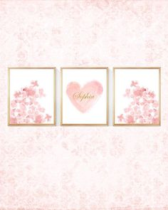 Personalized Blush Prints Blush Flowers Set by OutsideInArtStudio