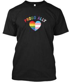 Proud Ally Lgbt Rainbow Heart   Gay Black T-Shirt Front