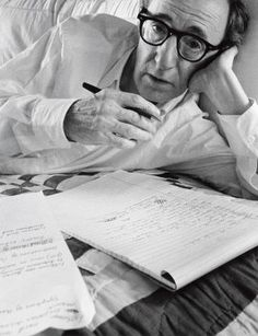 """""""I cheated on my metaphysical final in college. I looked within the soul of the boy sitting next to me."""" A 1996 Profile of Woody Allen, from our Filmmakers Collection: http://nyr.kr/ZCY97J (Photograph by Arnold Newman)"""