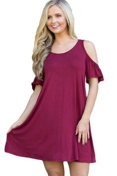 aa3f21fe9c Burgundy Naughty Cute Cold Shoulder Summer Short Sleeve Dresses MB22988-3 –  ModeShe.com