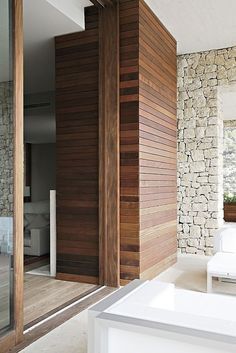 mixed textures stone + wood | architectural