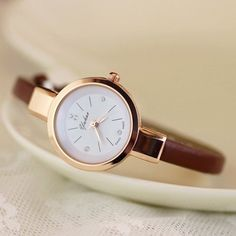 $6.68 for Women Charm Watches Slim Runway Three Hand Unique Face Small Band Fashion Wrist Watch