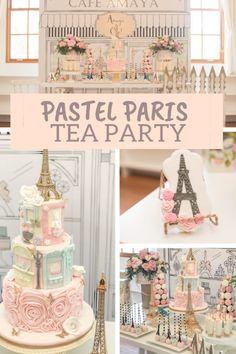 Paris Themed Birthday Party, Tea Party Theme, 10th Birthday Parties, Birthday Party Themes, Paris Themed Parties, Spa Birthday, Paris Bridal Shower, Paris Baby Shower, Bridal Showers